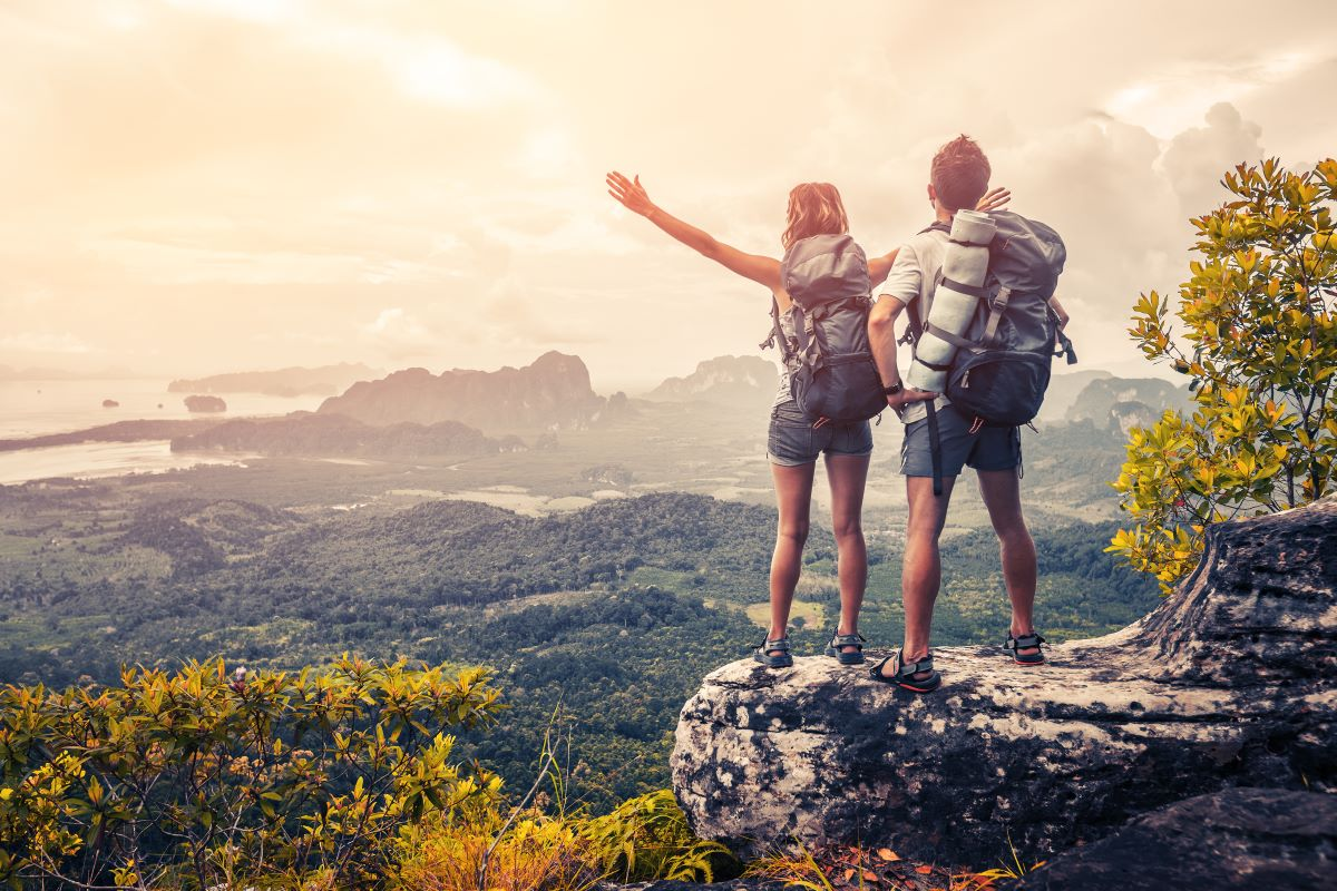 couple outdoor hiking