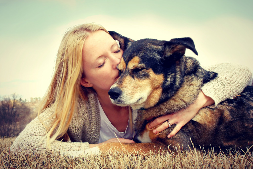 bonding with pet dog